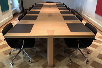 modular conference table in oak