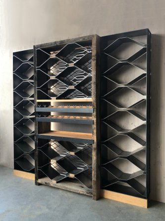 Wine cellar solid wood and metal
